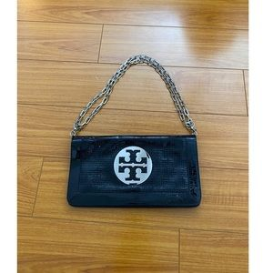 Tory Burch Black Clutch with Silver Strap & Emblem